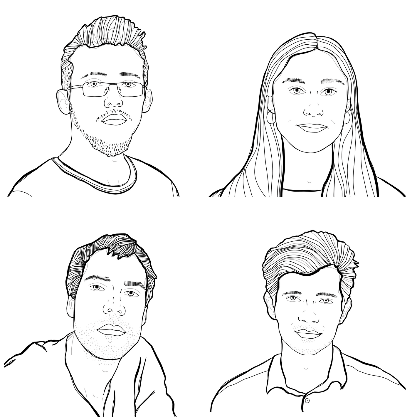 Four portraits arranged in the four corners of a square.