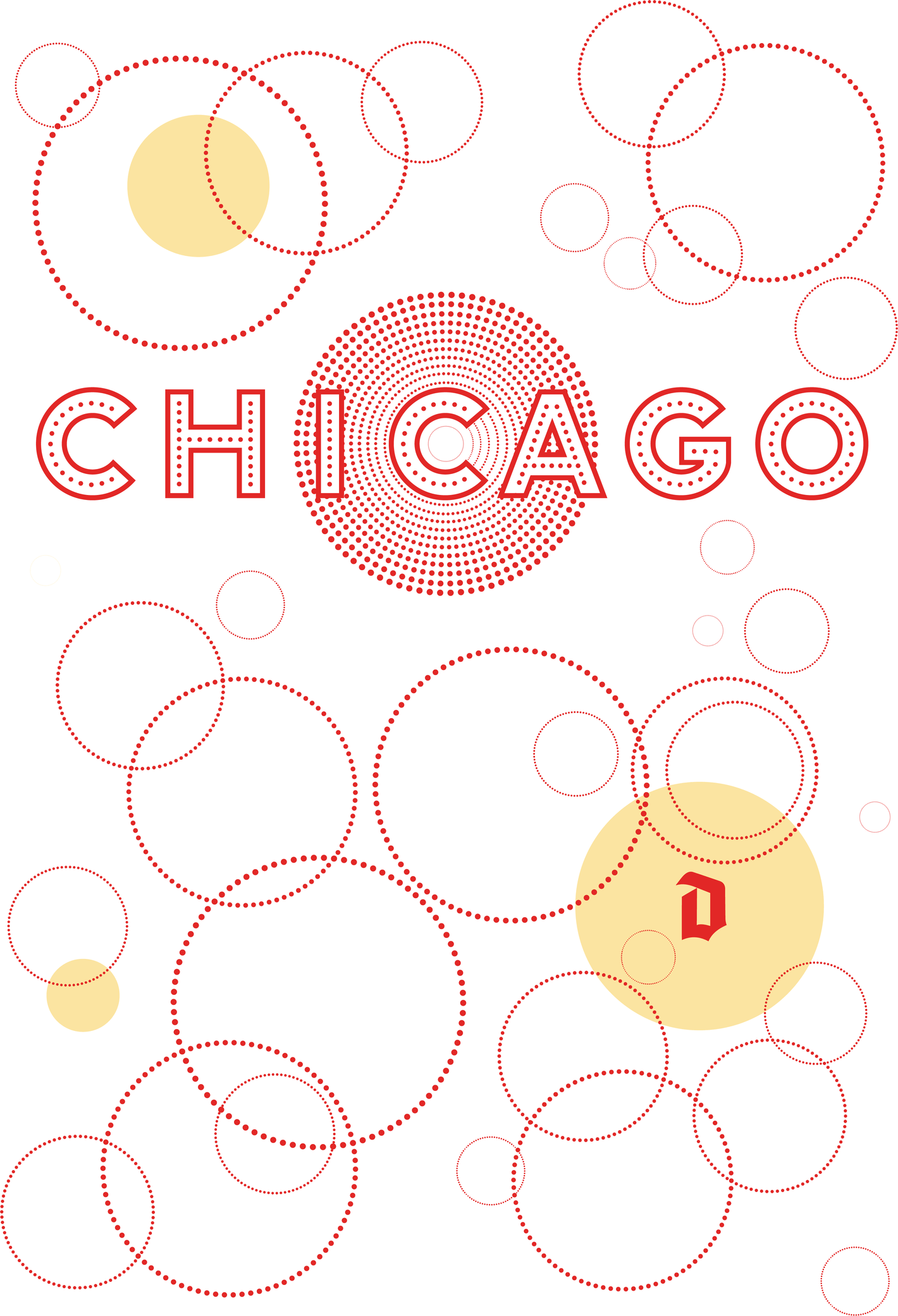 The city name Chicago surrounded by highly geometrical bubbles that reminds you to the bubbles in the Duvel tulip glass